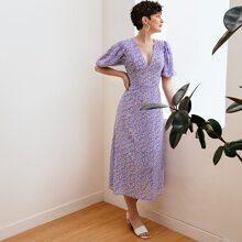Puff Sleeve Allover Print Dress