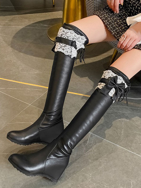 Milanoo Sweet Lolita Boots Lace Bow Hidden Heel PU Leather Round Toe Lolita Shoes