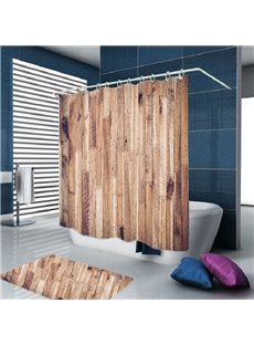 3D Wood Door Print Water-proof Polyester Bathroom Shower Curtain