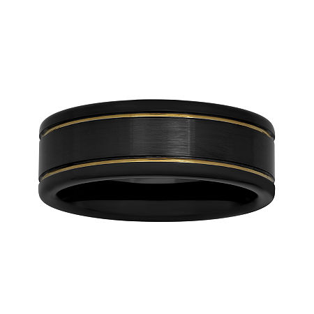 Mens Two-Tone Stainless Steel 8mm Striped Wedding Band, 10 1/2 , No Color Family