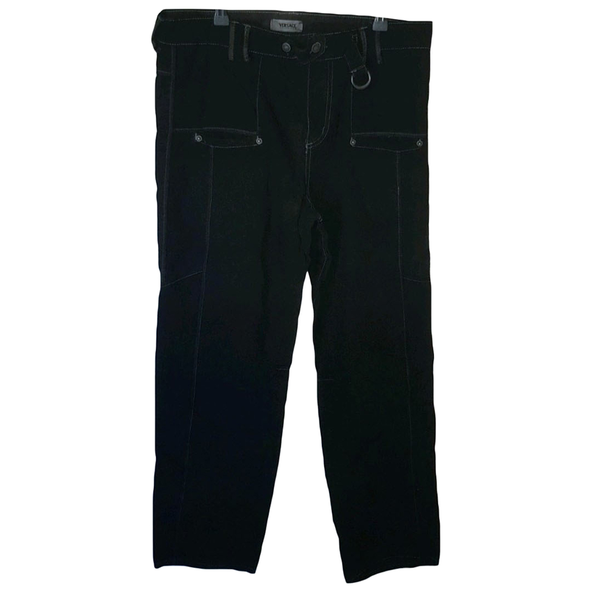 Versace N Black Cotton Trousers for Men XL International