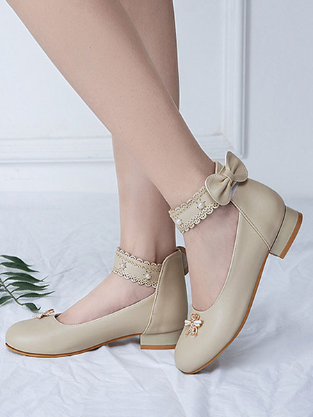 Milanoo Sweet Lolita Footwear White Bows Bee Round Toe PU Leather Lolita Shoes