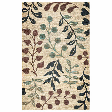 Rizzy Home Whittier Collection Mikayla Floral Rectangular Rugs, One Size , White