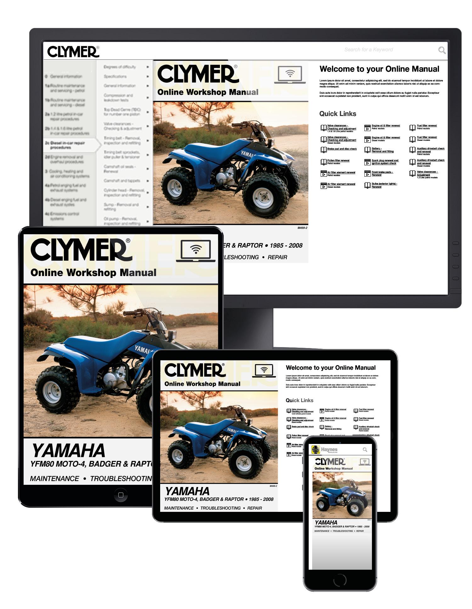 Yamaha YFM80 Moto-4, Badger and Raptor ATV (1985-2008) Service Repair Manual Online Manual