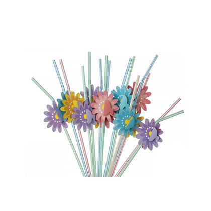 Partie en plastique à boire des décorations de fête de paille flexible Fleurs 15Pcs - LivingBasics ™