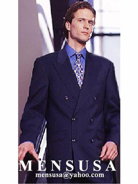 High Quality Double Back Vent Virgin Wool Dark Navy Blue Suit & Pants