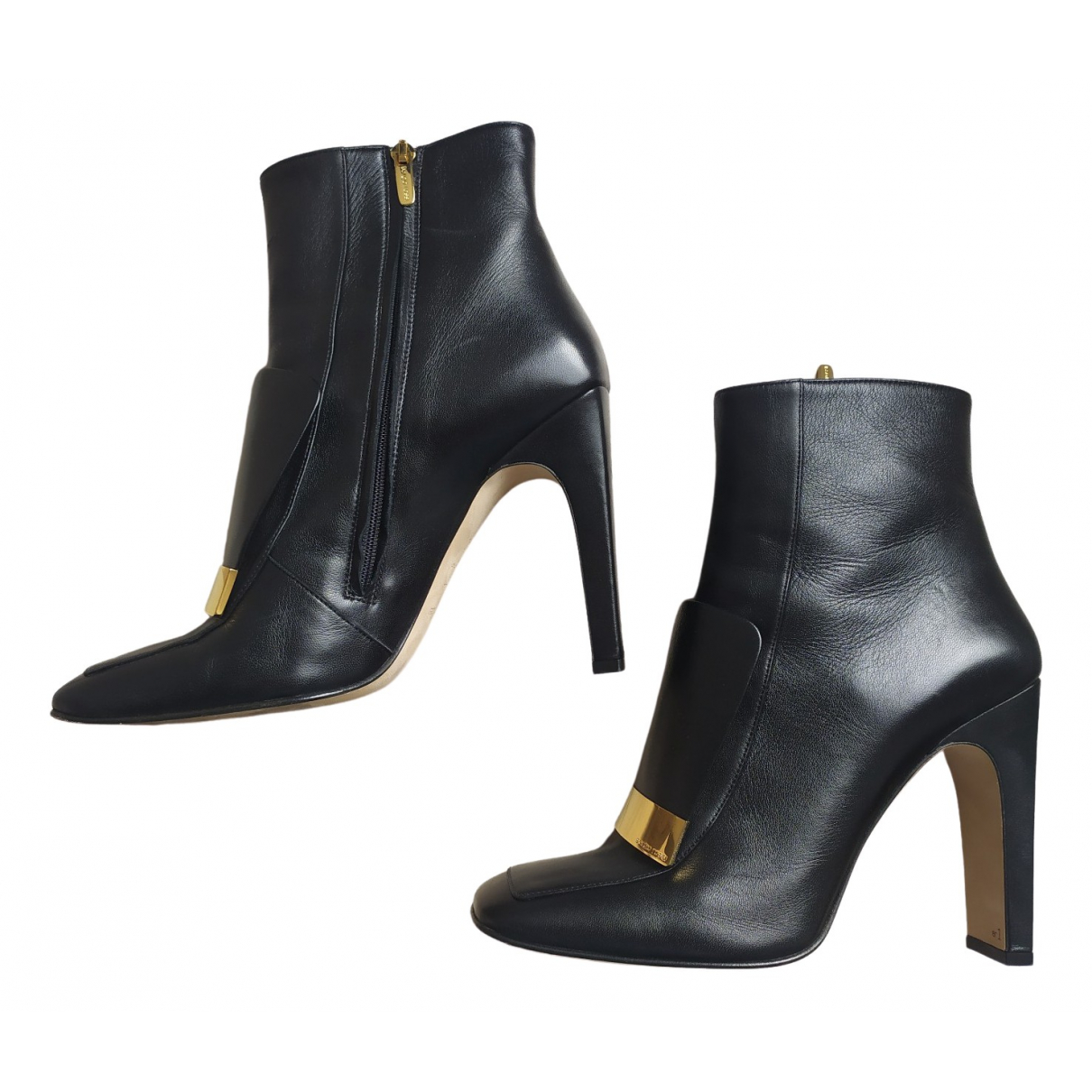 Sergio Rossi SR1 Black Leather Ankle boots for Women 40 EU
