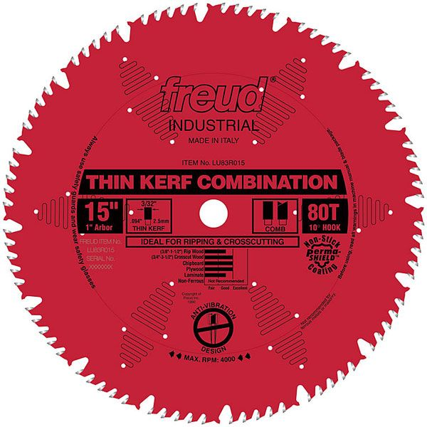 LU83R015 Industrial Thin Kerf Combination Blade, with Red Perma-Shield, 15