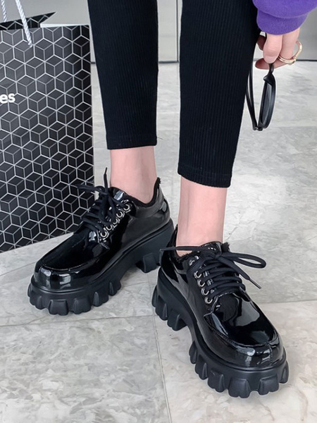 Milanoo Black PU Leather Round Toe Lace Up Oxfords For Women