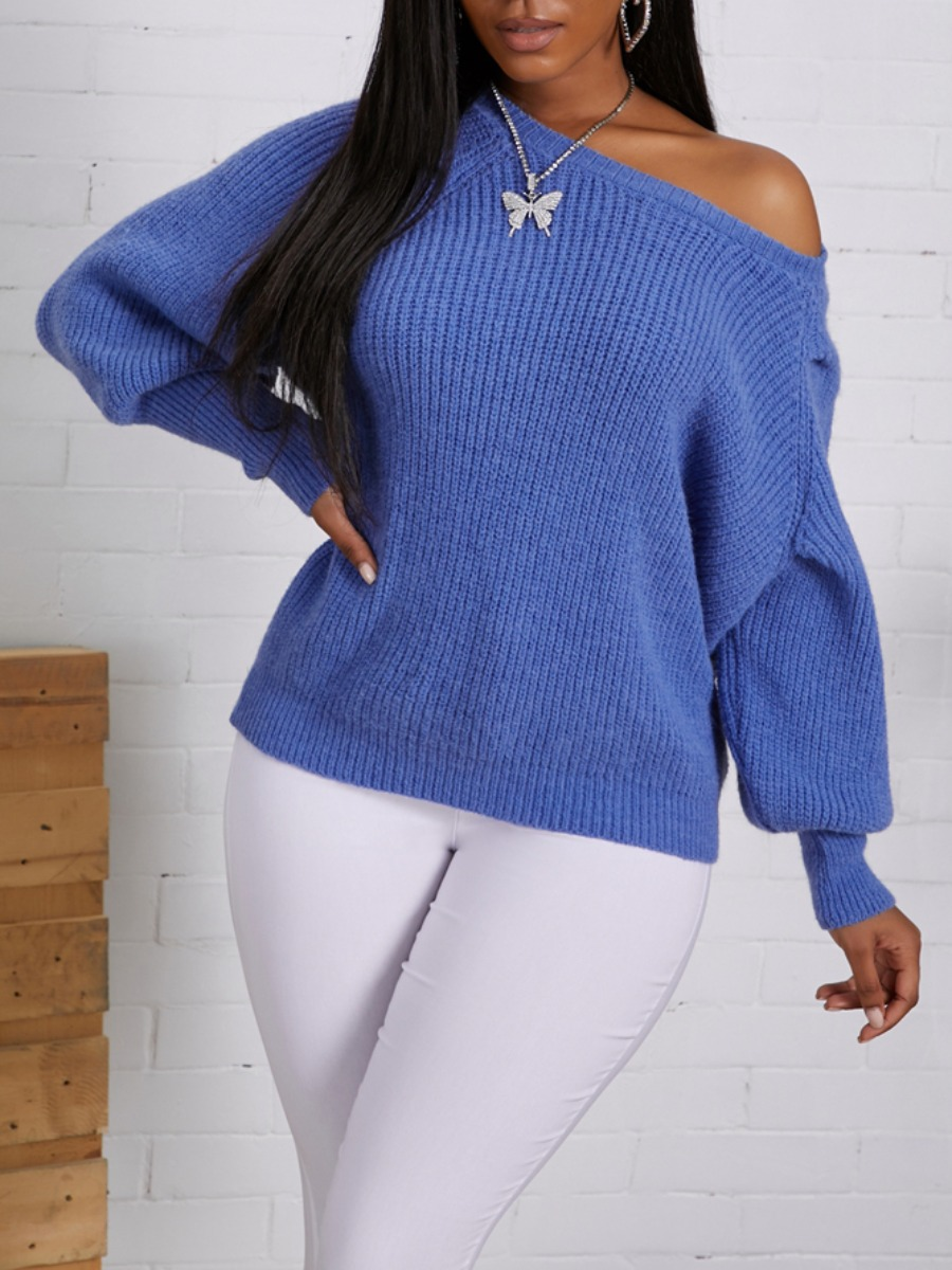LW lovely Casual O Neck Loose Blue Sweater