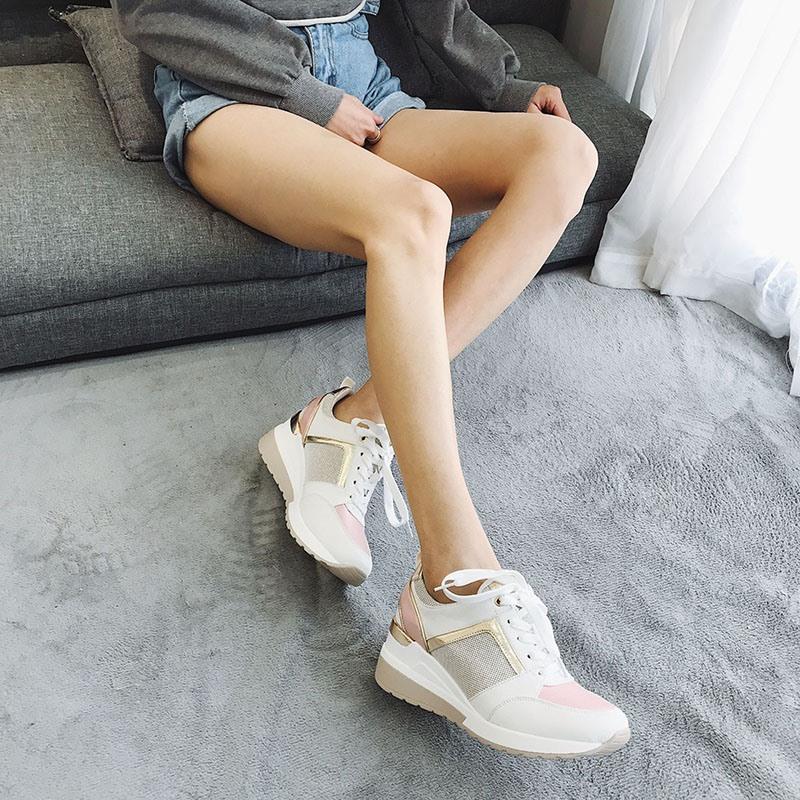 Ericdress Lace-Up Low-Cut Upper Thread Wedge Heel Sneakers
