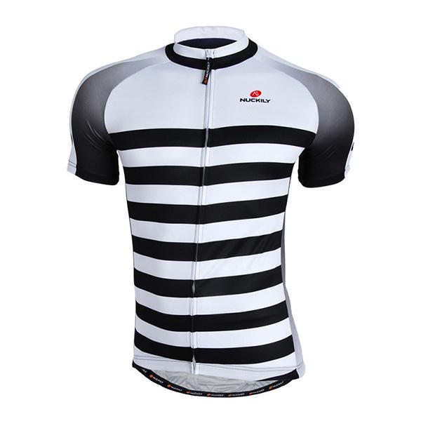 Male Stripe Pattern Breathable Full Zipper Road Bike Jersey Quick-Dry Cycling Jersey