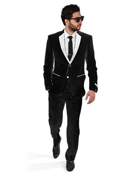 2BW2 black with white lapel