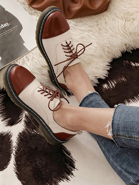 Milanoo Women Round Toe PU Leather Lace Up Oxfords
