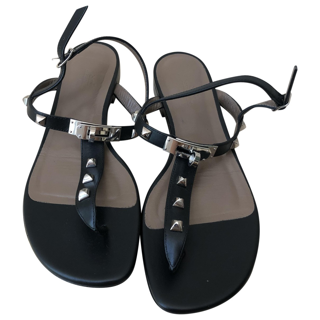 Hermès \N Black Leather Sandals for Women 37 EU