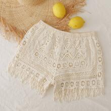 Crochet Fringe Hem Shorts
