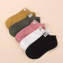 5pairs Letter Patched Socks