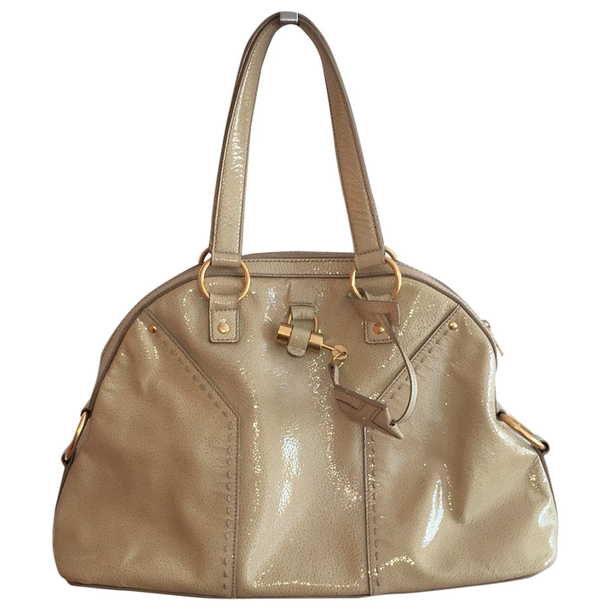 Yves Saint Laurent Muse Beige Patent leather handbag for Women \N