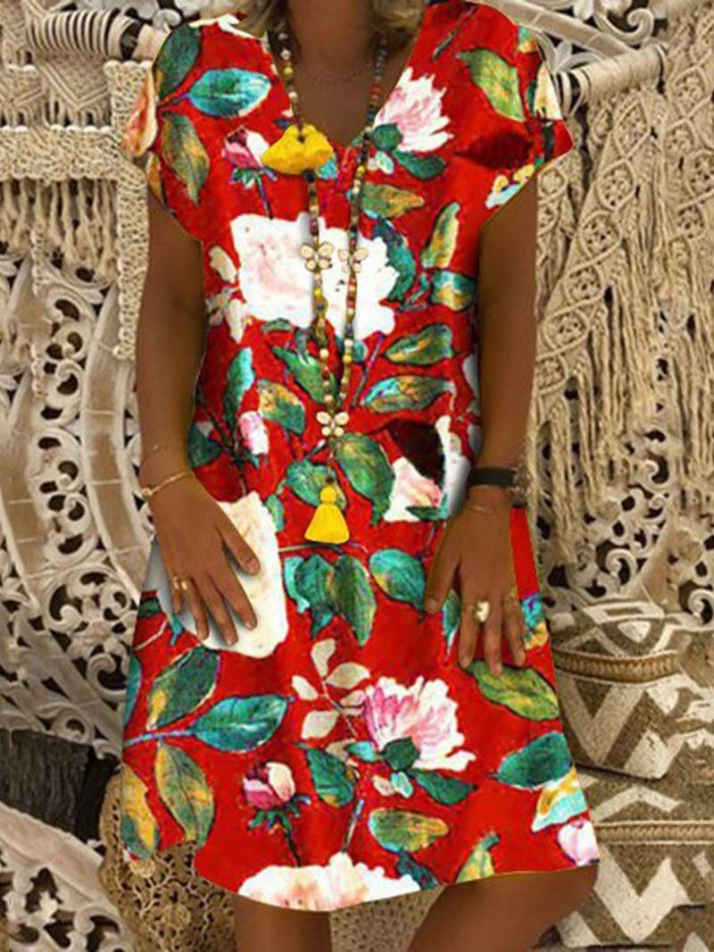 Ericdress Casual Print Short Sleeve V-Neck Knee-Length Travel Look Regular Dress