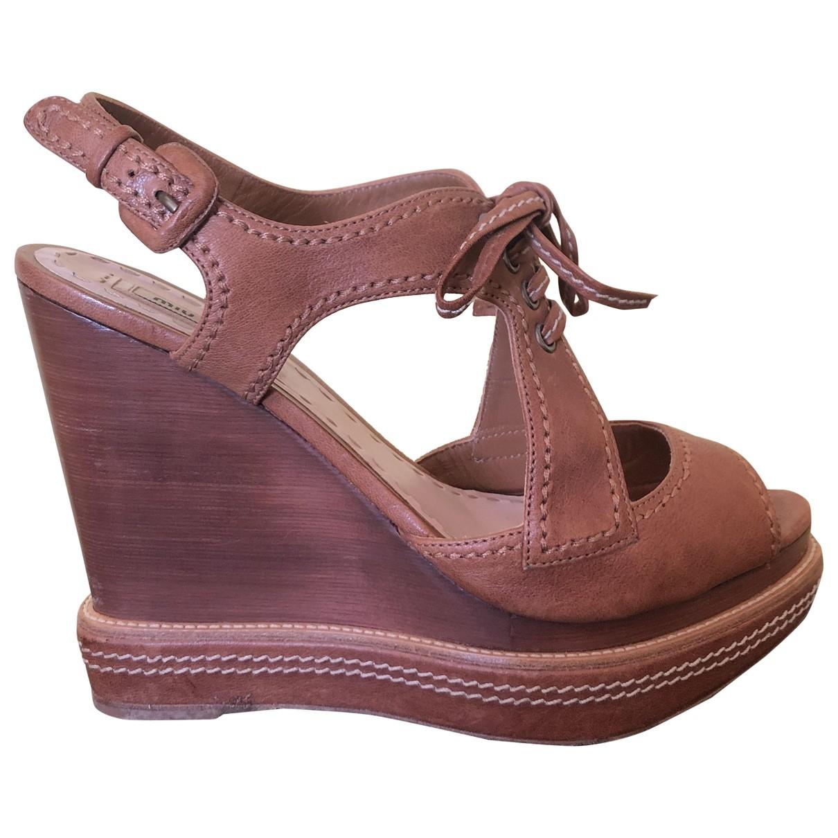 Miu Miu \N Brown Leather Sandals for Women 41 EU