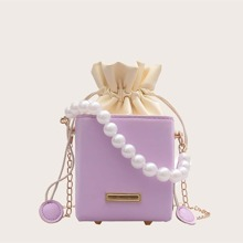 Girls Faux Pearl Decor Drawstring Bucket Bag
