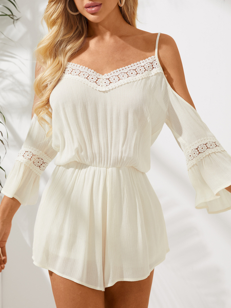 Yoins Cold Shoulder Playsuits With Lace Insert