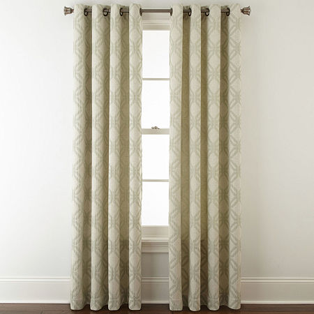 JCPenney Home Teagan Grommet-Top Curtain Panel, One Size , Green