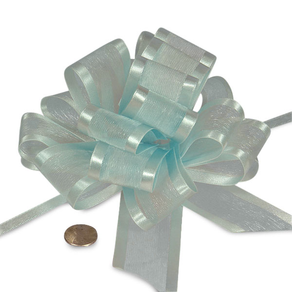 Blue Sheer Pull Bow with Satin Edges 4