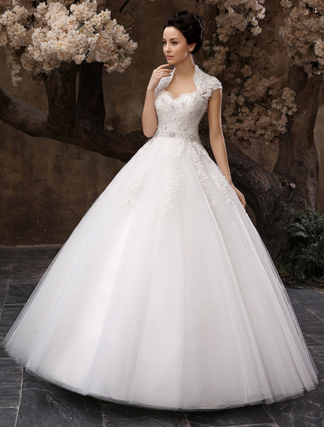 Milanoo Floor-Length White Ball Gown Sequin Wedding Dress For Bride with Keyhole Neck