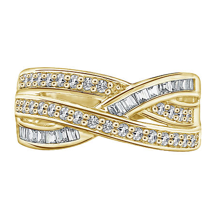 11M 1 CT. T.W. Cubic Zirconia 14K Gold Over Silver Round Band, 7 , No Color Family