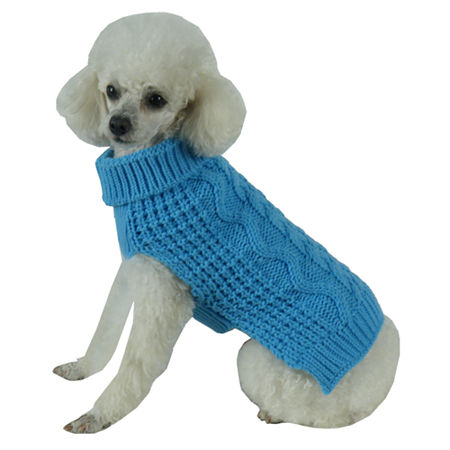 The Pet Life Swivel-Swirl Heavy Cable Knitted Fashion Designer Dog Sweater, One Size , Blue