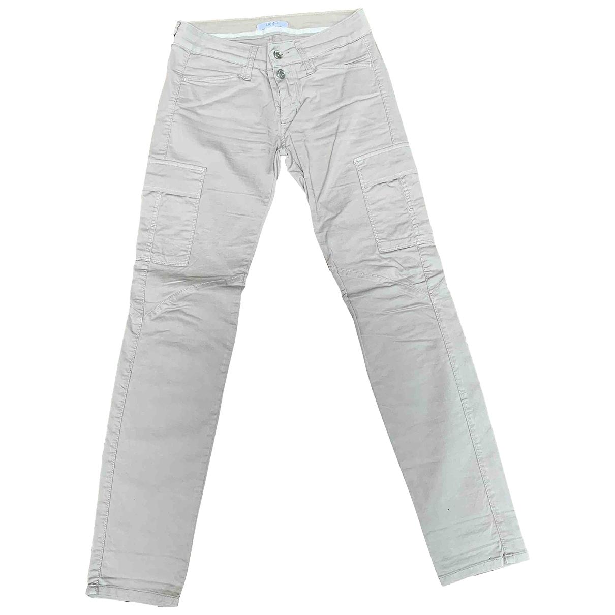 Liu.jo \N Beige Cotton Trousers for Women 40 IT