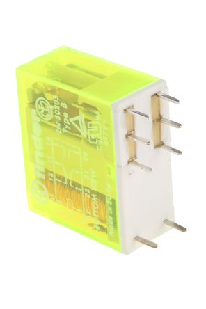 Finder , 5V dc Coil Non-Latching Relay DPDT, 8A Switching Current PCB Mount, 2 Pole