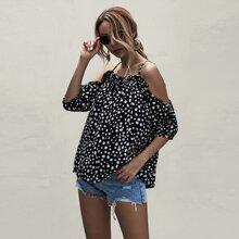 Dalmatian Print Cold Shoulder Blouse