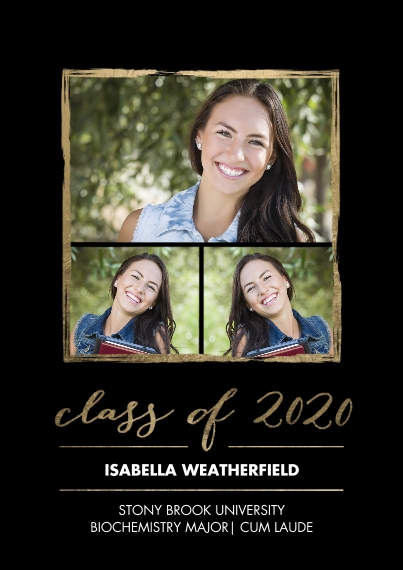 2020 Graduation Announcements 5x7 Cards, Premium Cardstock 120lb with Scalloped Corners, Card & Stationery -2020 Grad Gold Stroke by Tumbalina