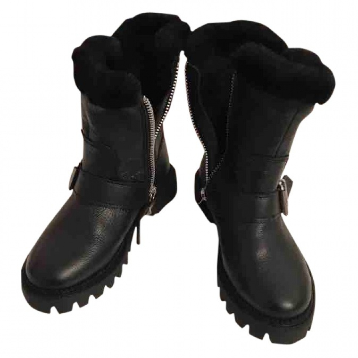 Zara \N Black Leather Boots for Kids 27 EU