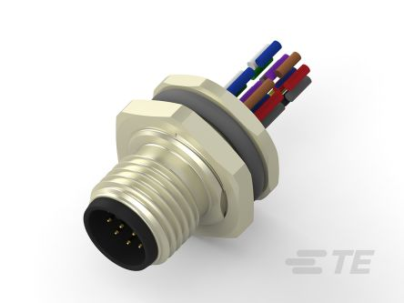 TE Connectivity Circular Connector, 12 contacts Panel Mount M12 Plug, Wire Lead IP67