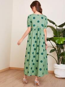 Puff Sleeve Polka Dot Smock Dress