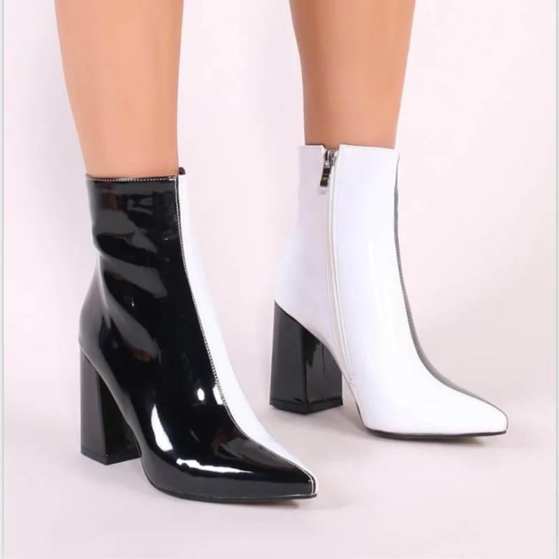 Ericdress Side Zipper Patchwork Chunky Heel Casual Boots