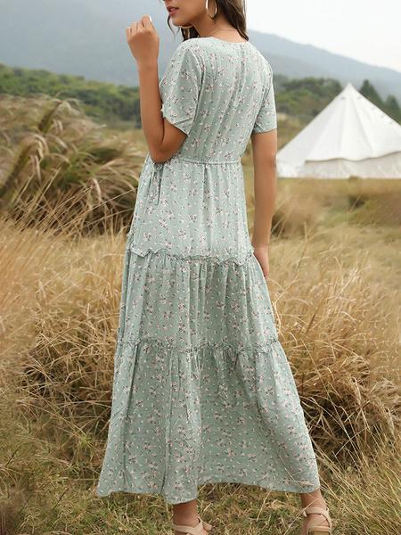 Milanoo Maxi Dress Short Sleeves White Printed V-Neck Lace Up Cotton Blend Long Dress