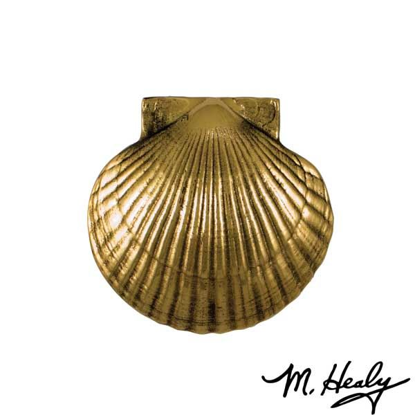 Sea Scallop Door Knocker, Polished Brass and Brown Patina