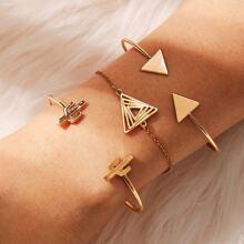 Triangle & Cactus Design Bracelet 3pcs