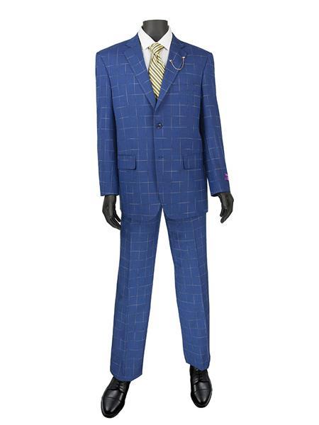 Mens Plaid ~ Window Suit 2 Button Suit Blue