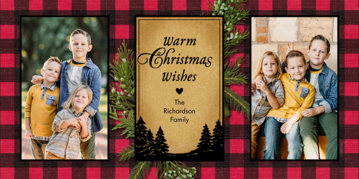 Christmas Photo Cards 4x8 Flat Card Set, 85lb, Card & Stationery -Warm Plaid Christmas Wishes - Two Photos by Hallmark