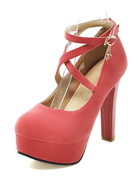 Milanoo Suede Platform Shoes Round Toe Criss Cross Ankle Strap Pumps