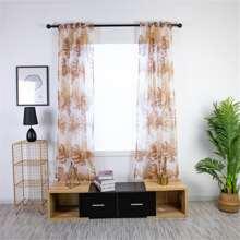 Leaf Print Sheer Single Panel Curtain