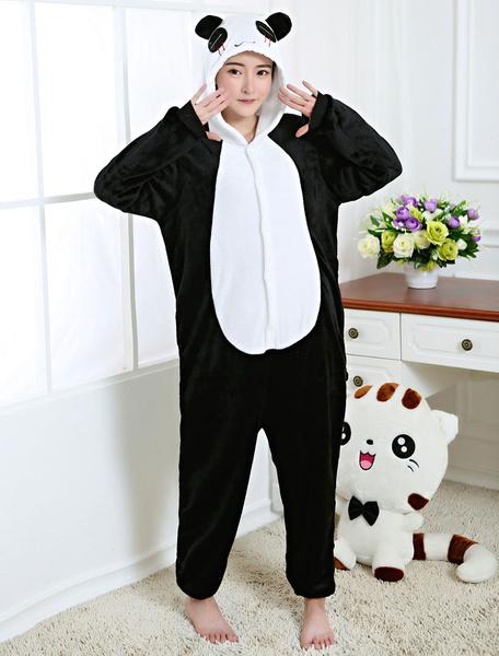 Milanoo Kigurumi Pajamas Panda Onesie Black Flannel Animal Winter Sleepwear For Adult Unisex Back With Zipper Costume Halloween