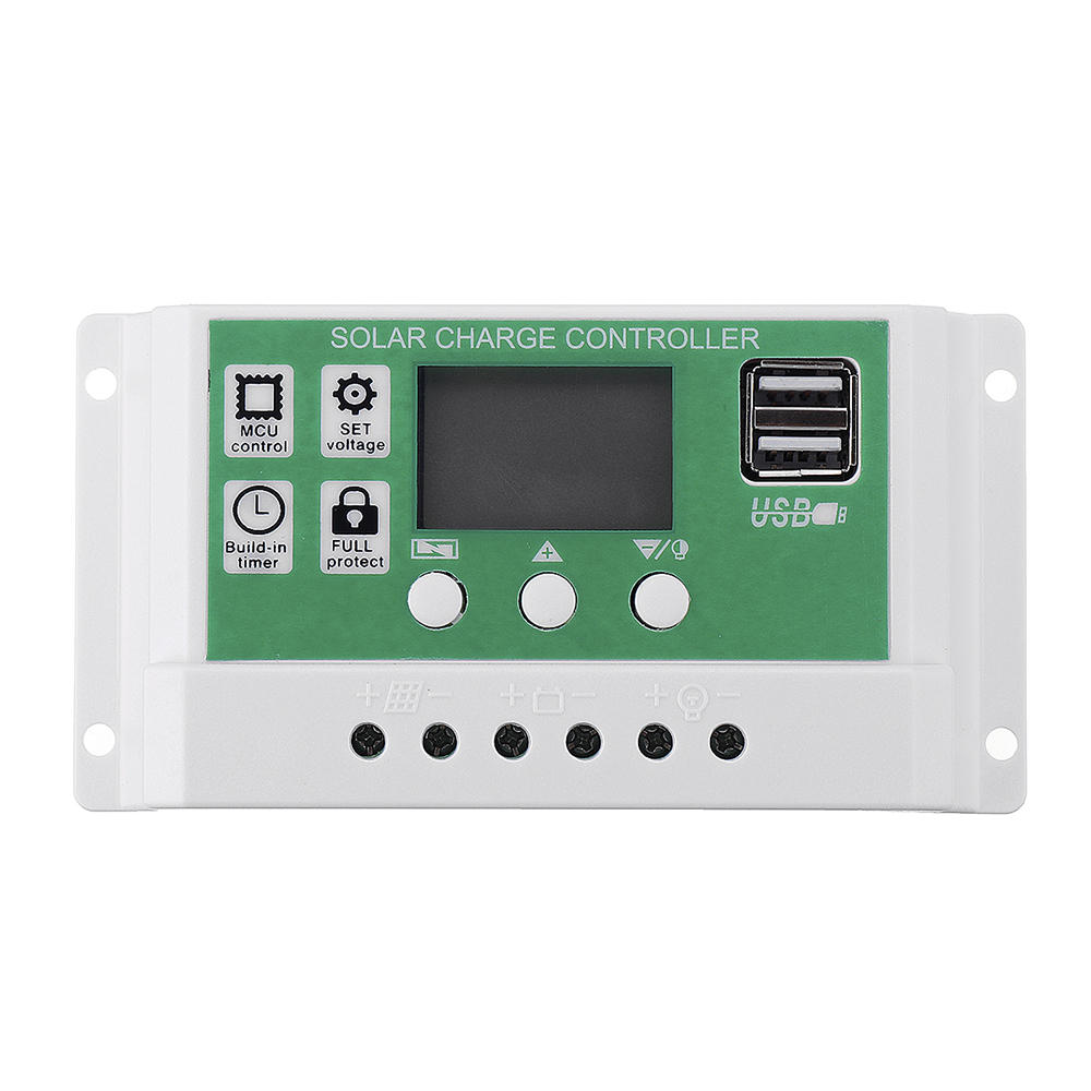 12V/24V 10A/20A/30A Dual USB Output Lithium Battery PWM Solar Controller LCD display Street Lamp Controller Build-in Ind