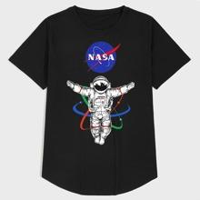 Men Letter & Astronaut Print Tee