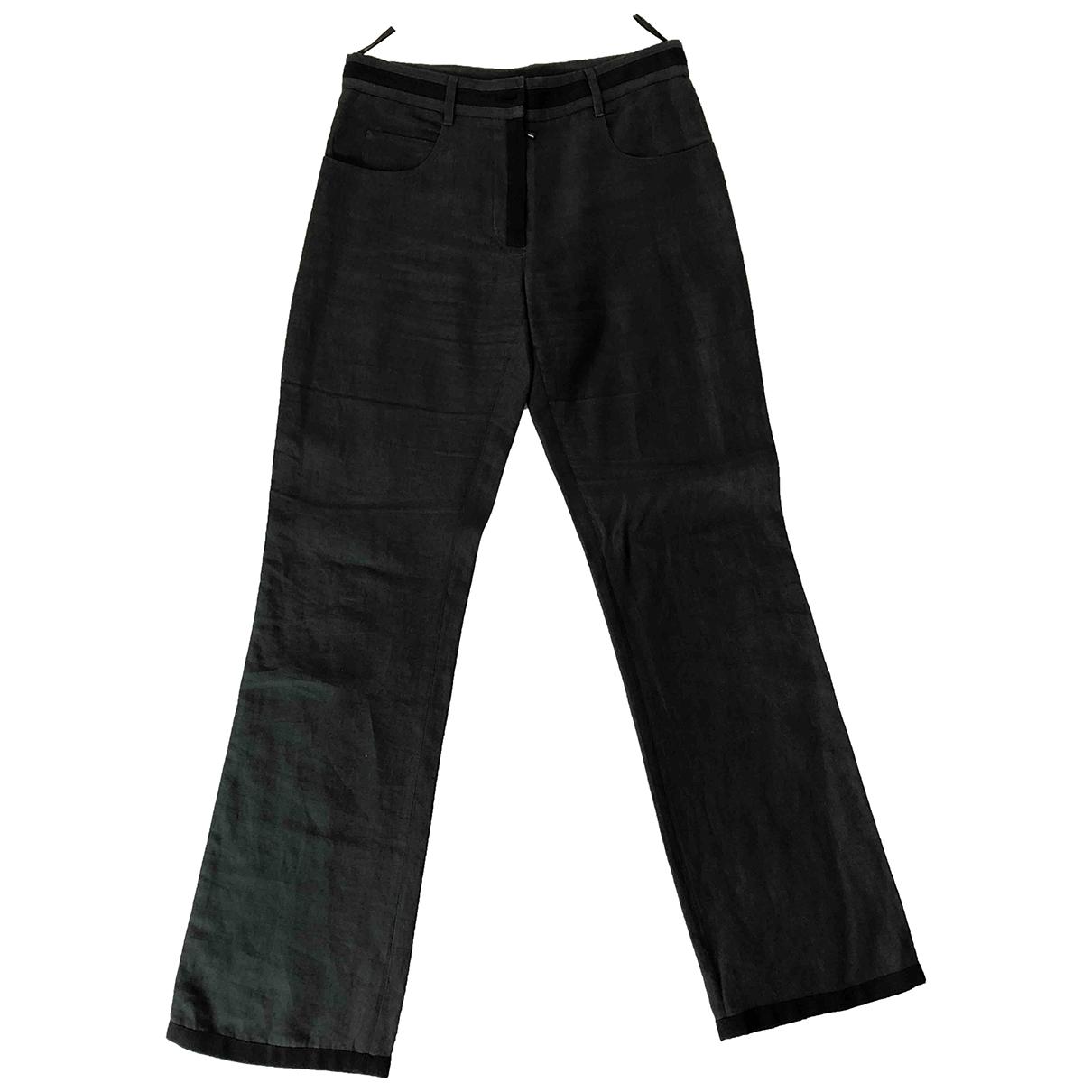 Chanel \N Green Linen Trousers for Women 38 FR